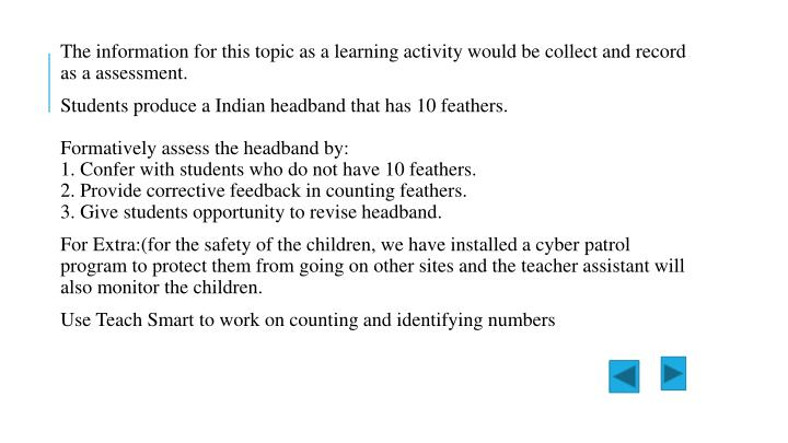 The information for this topic as a learning activity would be collect and record as a assessment.
