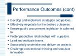 performance outcomes cont