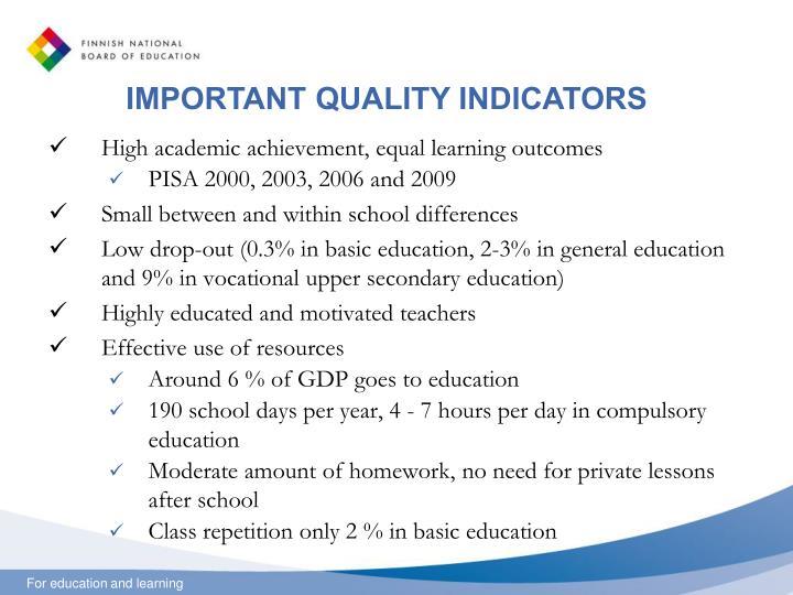 IMPORTANT QUALITY INDICATORS