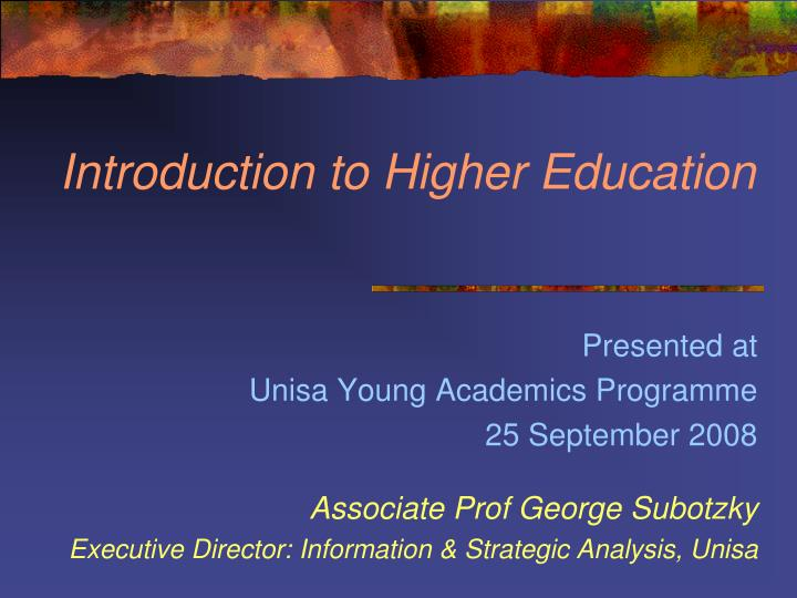 introduction to higher education n.