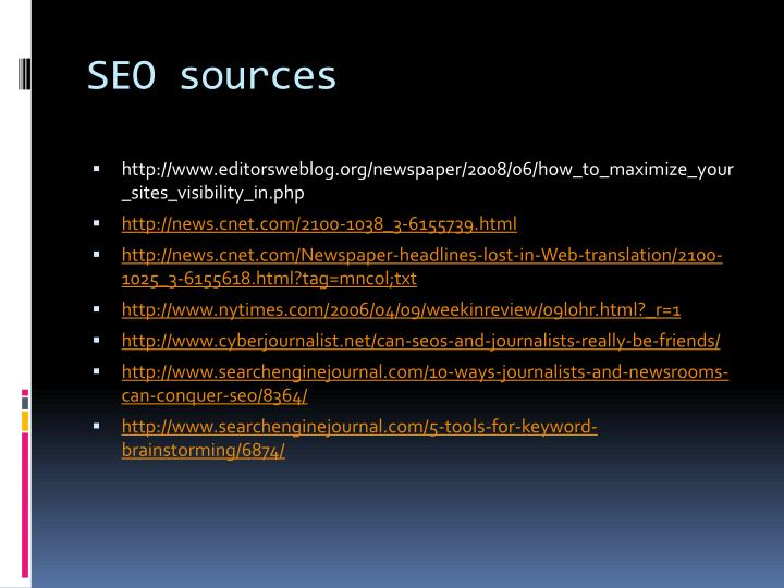 SEO sources