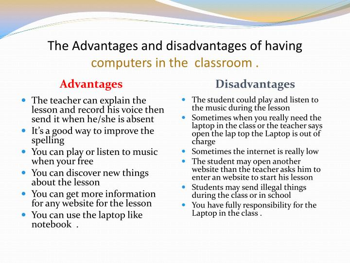 advantage of computer A comparison of the advantages and disadvantages of a laptop computer vs a desktop computer.