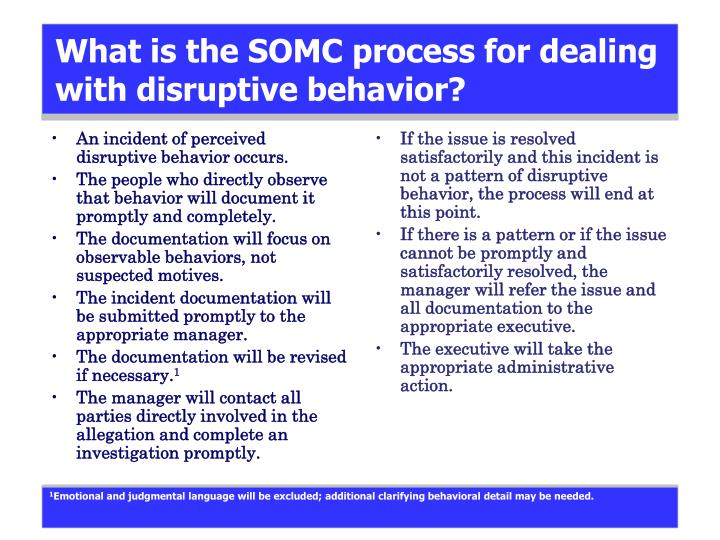 What is the SOMC process for dealing with disruptive behavior?