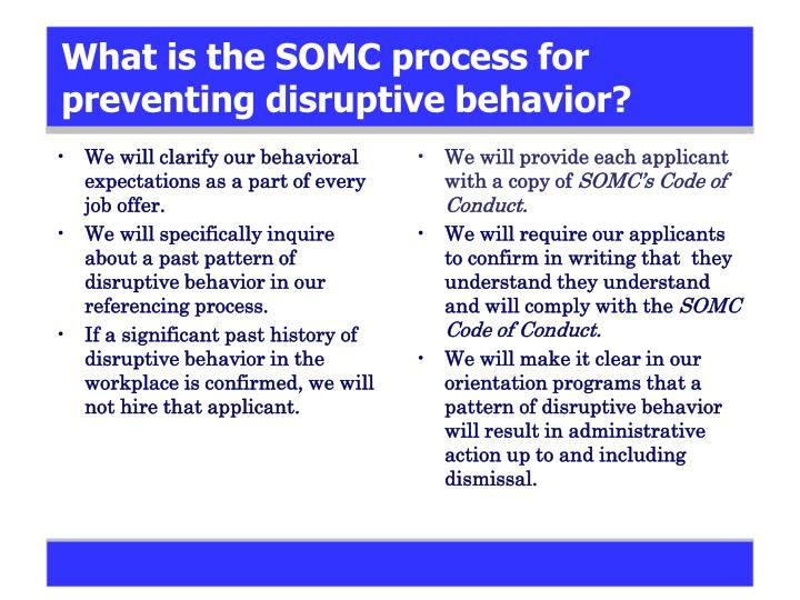 What is the SOMC process for preventing disruptive behavior?