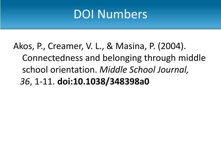 DOI Numbers