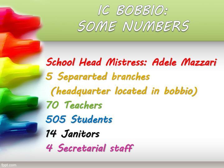 Ic bobbio some numbers