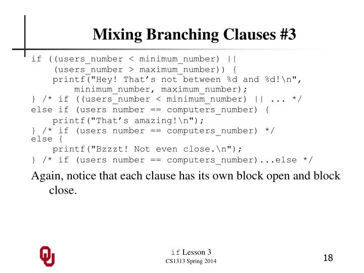 Mixing Branching Clauses #3