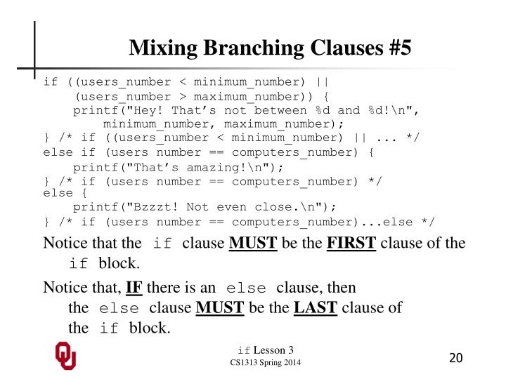 Mixing Branching Clauses #5
