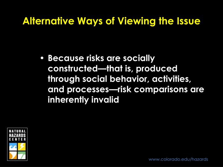 Alternative Ways of Viewing the Issue