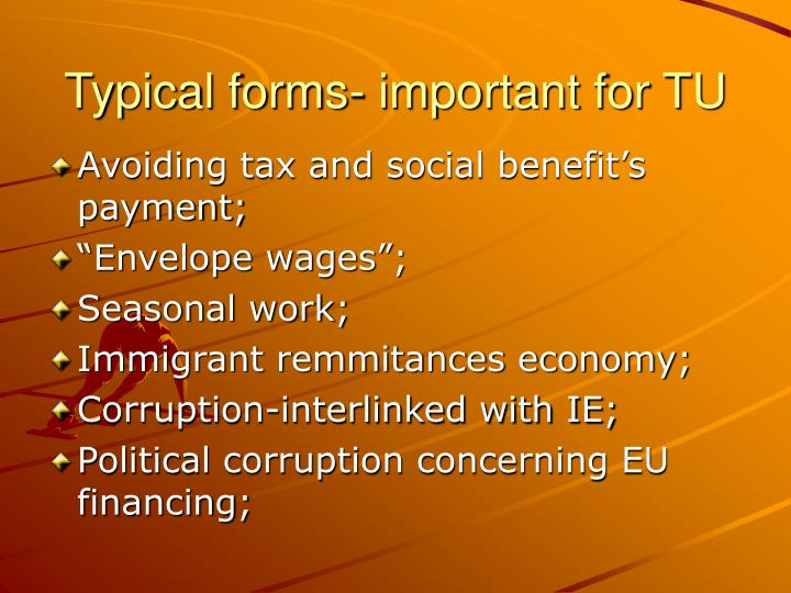 Typical forms- important for TU