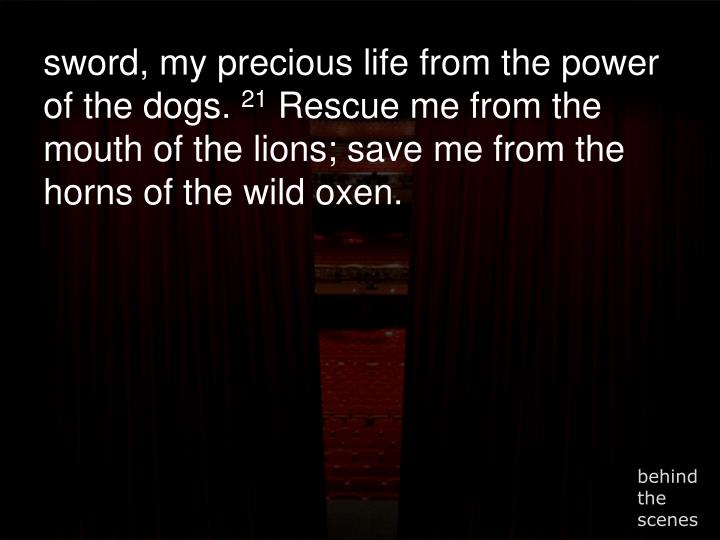 sword, my precious life from the power of the dogs.