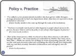 policy v practice