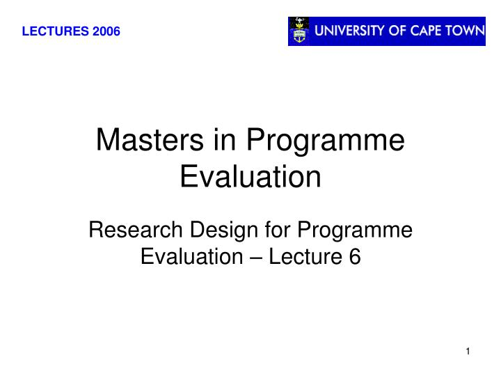 masters in programme evaluation n.