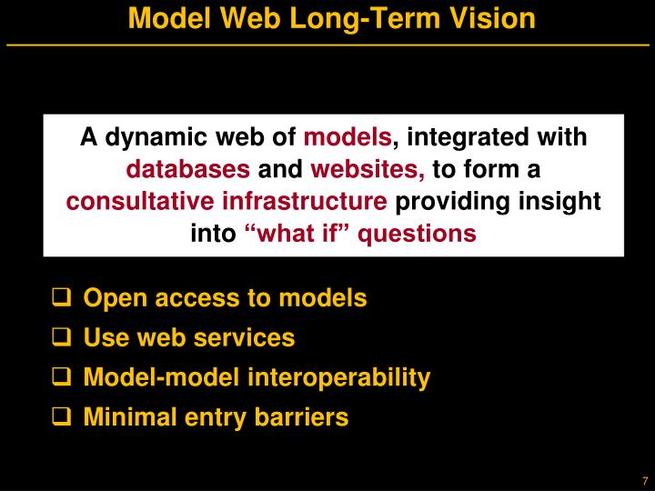 Model Web Long-Term Vision