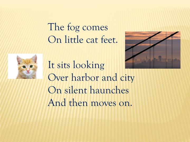 fog by carl sandburg metaphor