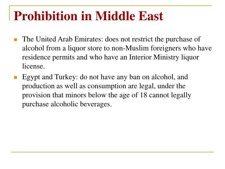 Prohibition in Middle East