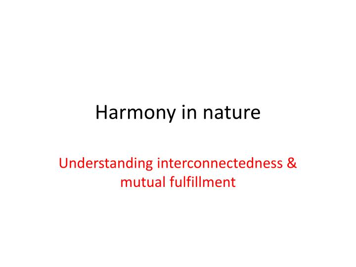 harmony in nature n.