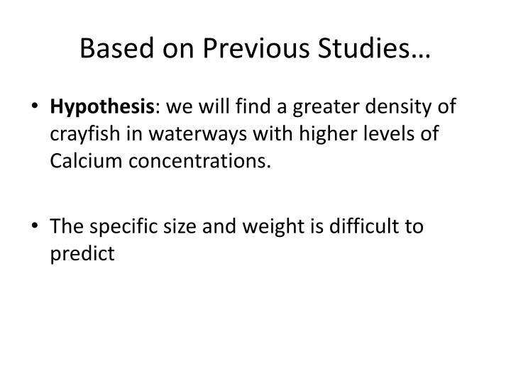 Based on Previous Studies…