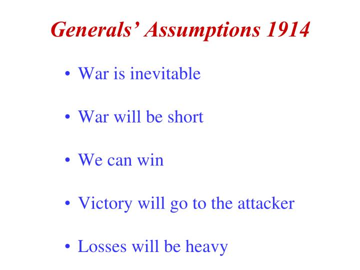 Generals' Assumptions 1914
