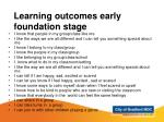 learning outcomes early foundation stage