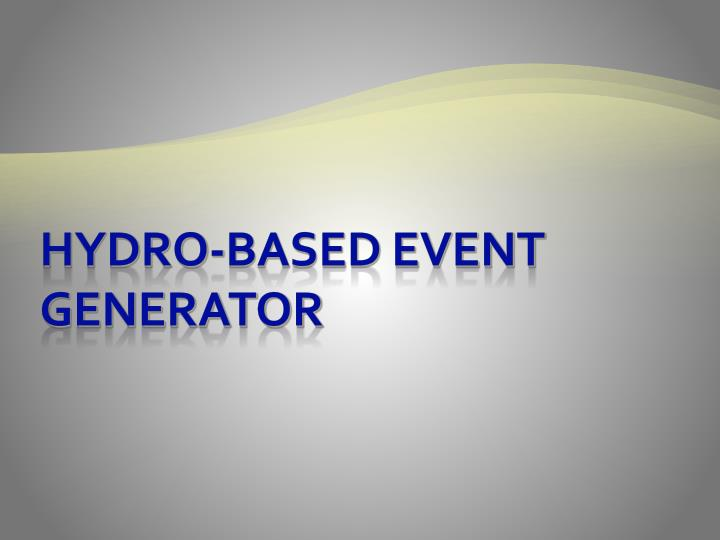 Hydro-based event generator