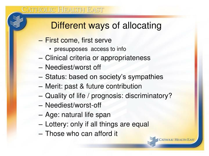 Different ways of allocating