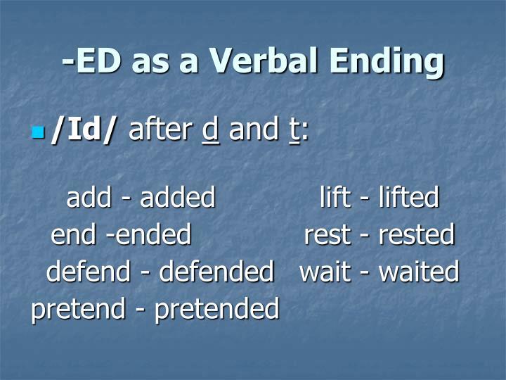 Ed as a verbal ending1