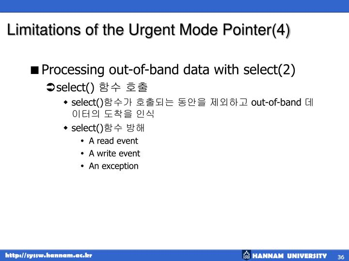 Limitations of the Urgent Mode Pointer(4)