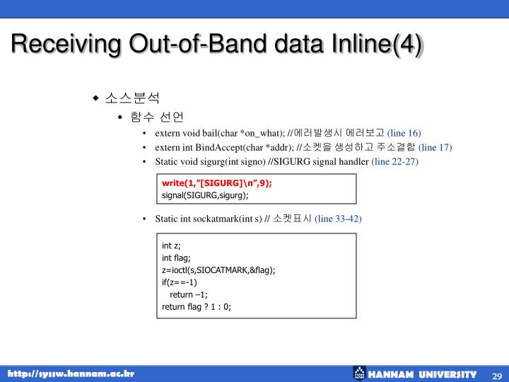 Receiving Out-of-Band data Inline(4)
