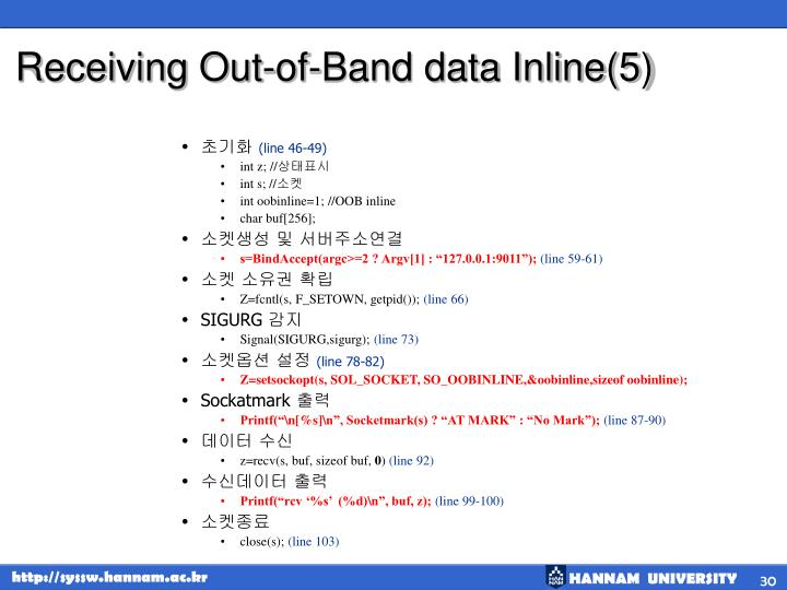 Receiving Out-of-Band data Inline(5)