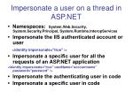 impersonate a user on a thread in asp net