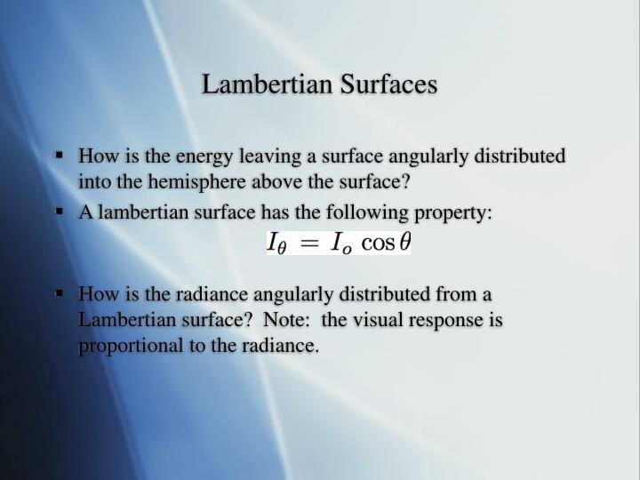 Lambertian Surfaces