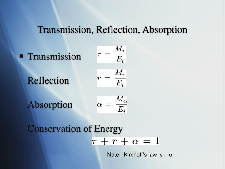 Transmission, Reflection, Absorption