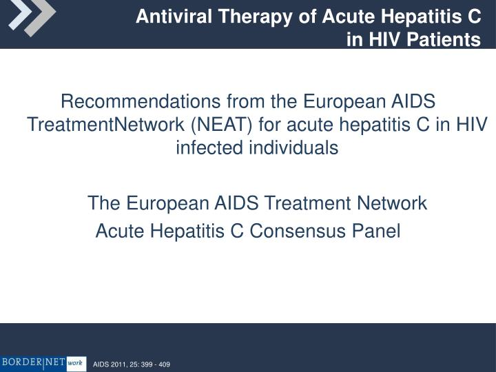 Antiviral Therapy of Acute Hepatitis C