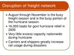 disruption of freight network