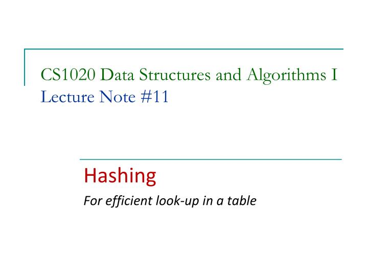 Cs1020 data structures and algorithms i lecture note 11