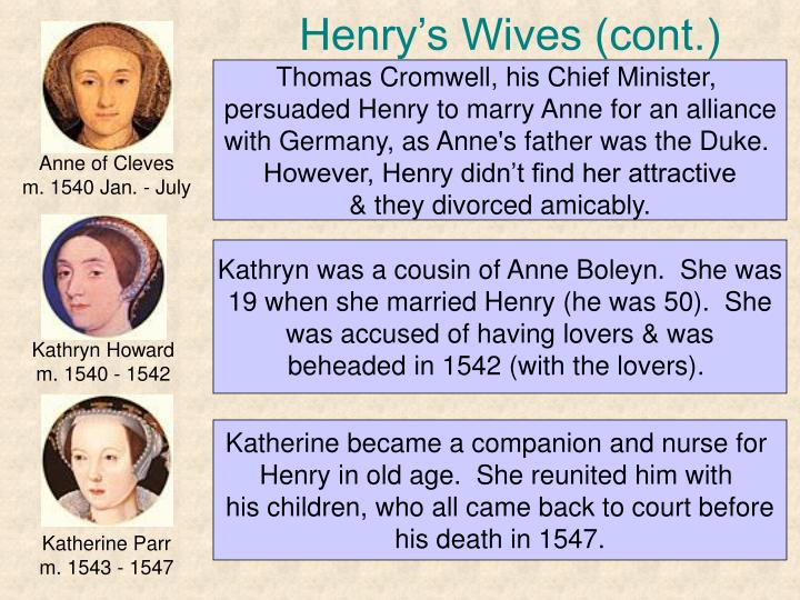 Henry's Wives (cont.)
