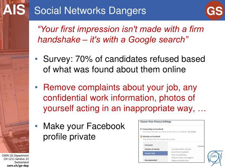 Social Networks Dangers