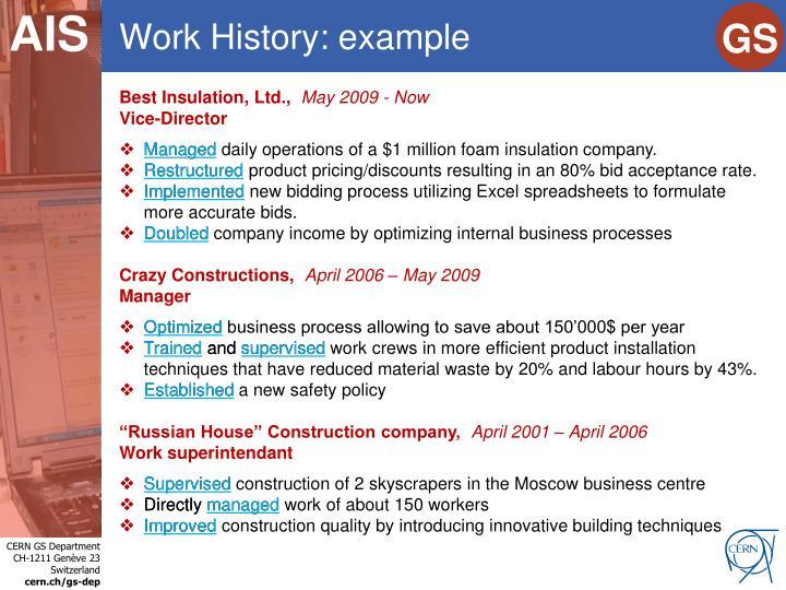 Work History: example