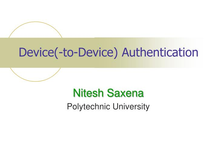 Device to device authentication