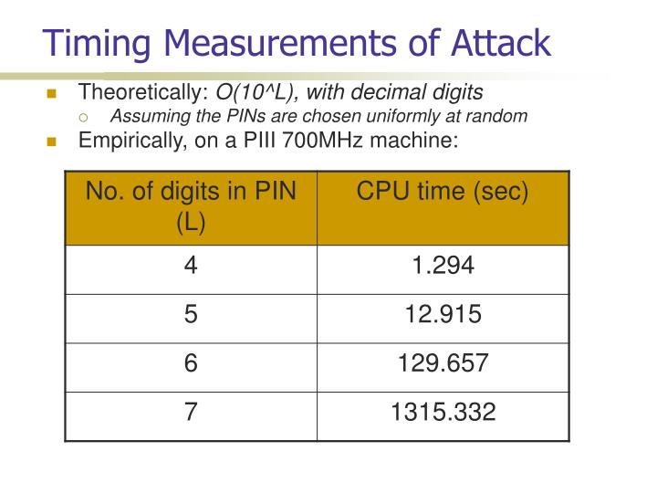 Timing Measurements of Attack
