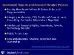 sponsored projects and research related policies