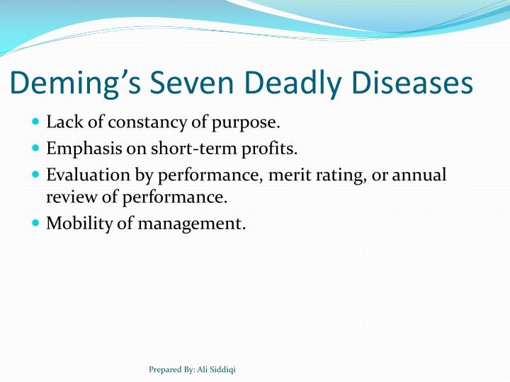 Deming's Seven Deadly Diseases