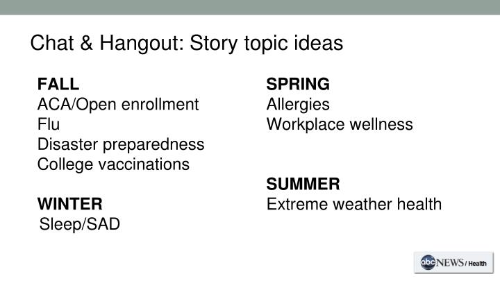 health topic ideas