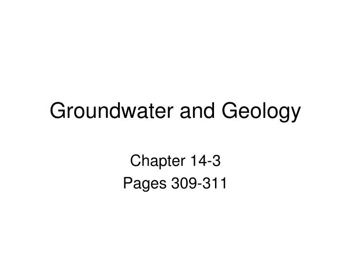 Groundwater and Geology