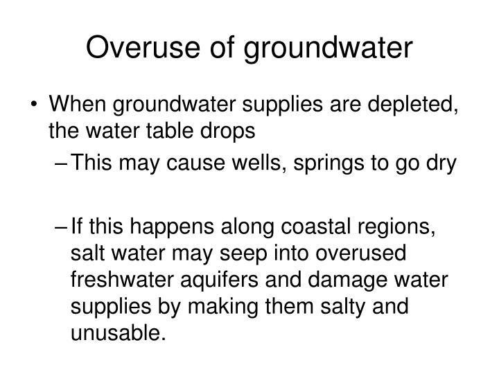Overuse of groundwater