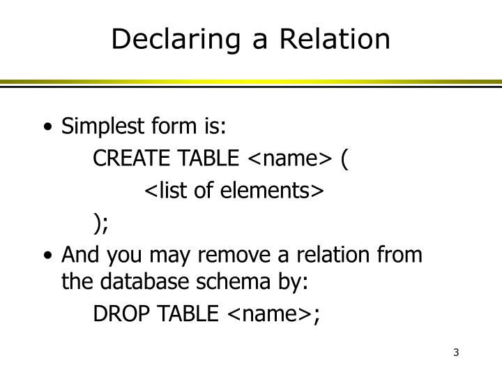 Declaring a relation