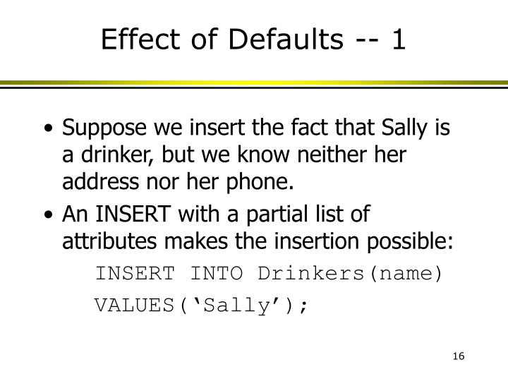 Effect of Defaults -- 1