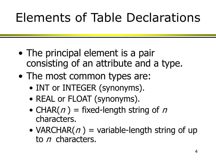 Elements of Table Declarations