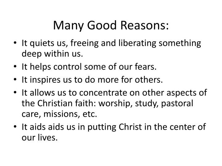 Many Good Reasons: